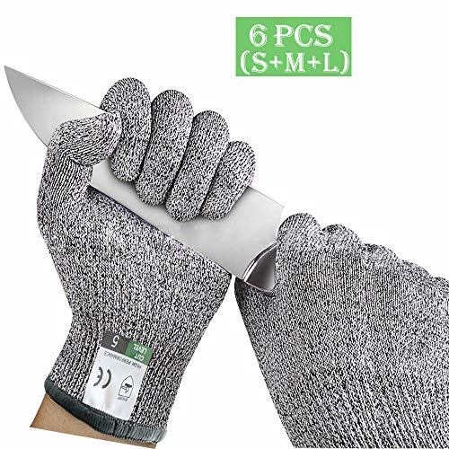 3 Pairs Cut Resistant Gloves Food Grade Level 5 Hand Protection, Kitchen Cut Gloves, Upgrade Safety Anti Cutting Gloves for Meat Cutting, Wood Carving, Mandolin Slicing