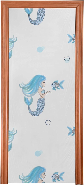 DoorDecorforRoom Cute Little Charlotte Mall Mermaids Seamless OFFicial Vector Decorat