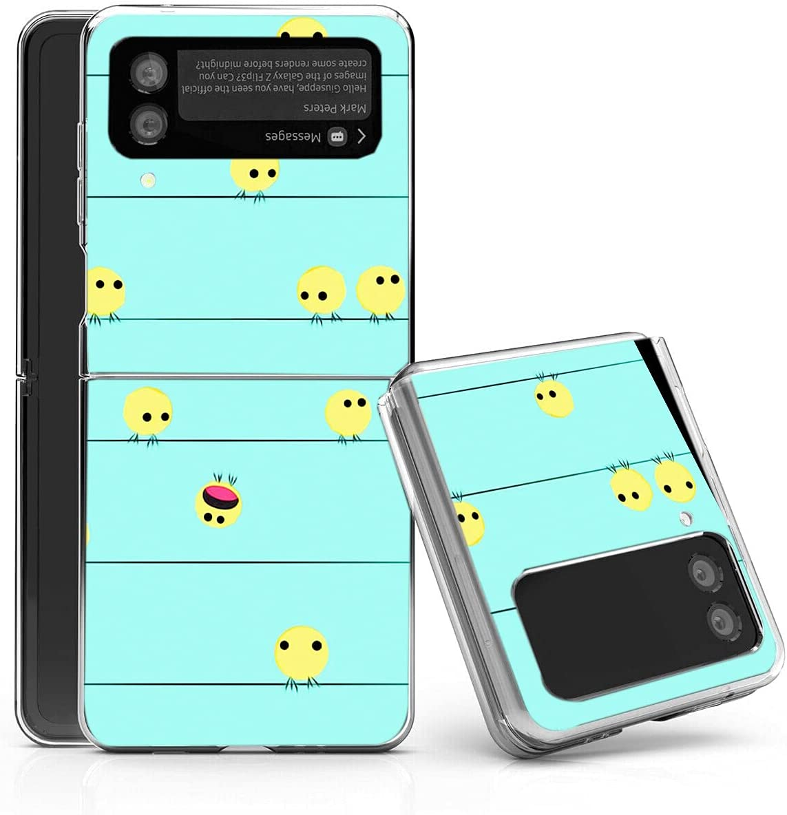 Galaxy Z Flip 3 5G Case,Bcov Cute Yellow Birds Anti-Scratch Solid Hard case Protective Shookproof Phone Cover for Samsung Galaxy Z Flip 3 5G