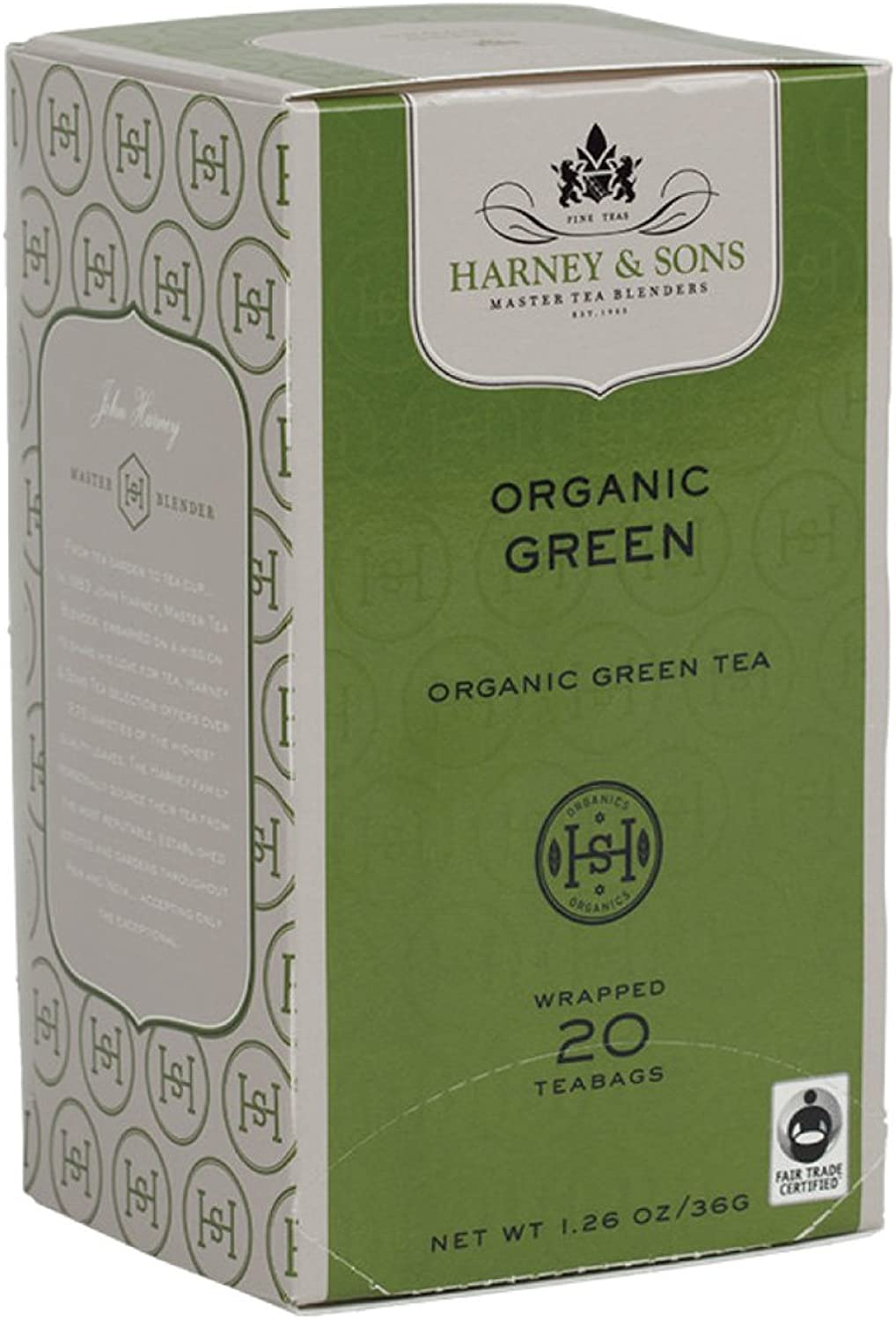 Harney and Sons Organic Green Teabags, 20 Count (Pack of 6)