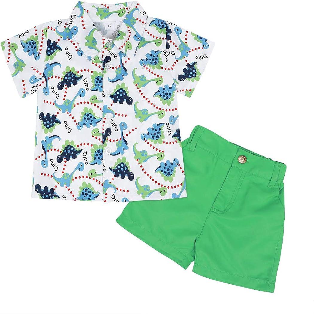 WonderBabe Toddler Infant Baby Boy Summer Clothes Sleeveless Cartoon T-Shirt Top Print Shorts Set 2Pcs Outfit
