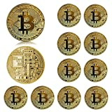 Neatbuddy 12PCS Pure Gold Color Physical Bitcoin Coin Collectable Gift,Cryptocurrency Coin,Suitable for Pre-Kindergarten Toy,Home deocr(Gold)
