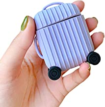 BONTOUJOUR AirPods Case, Creative Suitcase Shape Stripe Surface Silicone Case Cover Protective Skin for Apple AirPods-Purple