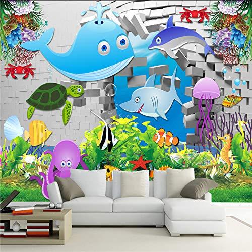 Zxdcd 3D Aangepaste Cartoon Muurpapieren Wit Baksteen Fotobehang Kinderen Onderwater World Leaf Wallpapers Home Decor voor Kinderen Kamer 200x140cm