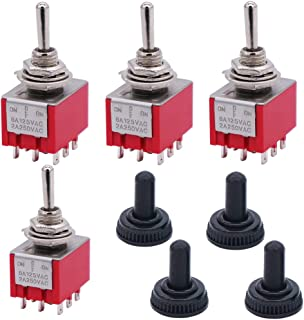 Twidec/4Pcs Mini Toggle Switch 3PDT 3 Position 9 Pins ON/OFF/ON Miniature Toggle Switch AC 6A/125V 2A/250V Car Boat Switches With Waterproof Cap MTS-303-MZ