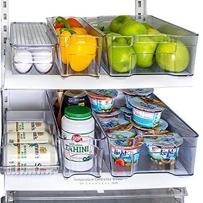 Kitchen Shaq Refrigerator Organizer Bins Storage Set - Pack of 6 Includes Drink Holder and Egg Tray for Fridge - Premium Quality by Kitchen Shaq