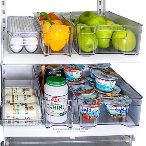 Kitchen Shaq Refrigerator Organizer Bins Storage Set - Pack of 6 Includes Drink Holder and Egg Tray for Fridge - Premium Quality