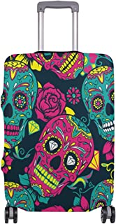 Mydaily Floral Skull Luggage Cover Fits 28-29 Inch Suitcase Spandex Travel Protector L