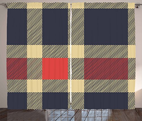 """Ambesonne Checkered Curtains, Vintage Plaid Scottish Tartan Pattern with Retro Display Checks Lines, Living Room Bedroom Window Drapes 2 Panel Set, 108"""" X 63"""", Blue Coral"""