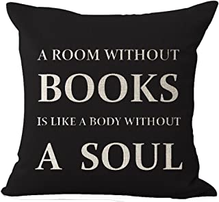 Book Lover Reading Book Club A Room Without Books Is Like A Body Without A Soul In Black Cotton Linen Throw Pillow Case Cu...