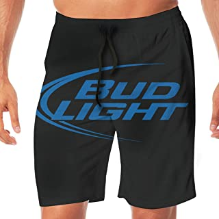 REBELN Men's Bud Light Logo Mens Summer Swim Trunks Quick Dry Funny Beach Board Shorts Casual Pants Printing