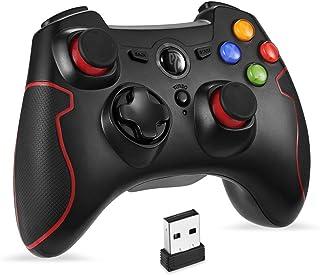 無線PS3/PCゲームパッド ワイヤレス パソコンゲーミングコントローラー 連射・振動機能搭載 Windows/Android/PS3/TV Boxに対応(ブラック+レッド)