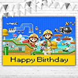 Super Mario Bros Backdrop for Party Supplies 5×3 Vinyl Video Game Birthday Party Decorations Engineer Mario Luigi Photography Background for Birthday Banner Cake Table Wall Decor Poster Wallpaper