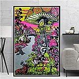 YuanMinglu Hippie Psychedelic Artwork-Trippy Poster_Arte Pop Moderno de la Pared de la Lona_Impresiones fotográficas y pósters Modernos de Arte de Pared para la Sala de Estar_Pintura sin marco60x90CM