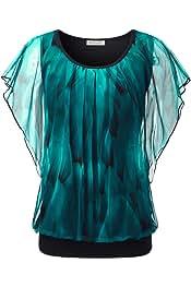 Women's Printed Flouncing Flared Short Sleeve Mesh Blouse Top