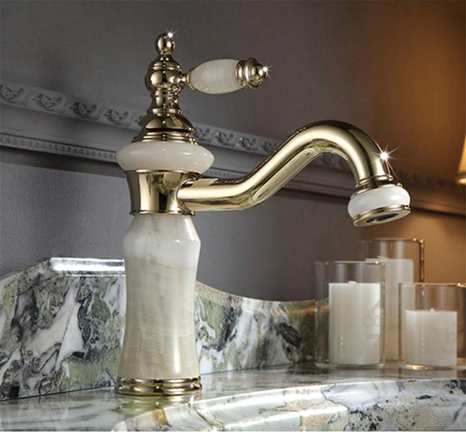 redOOY European golden Faucet Basin Hot and Cold Marble Basin Faucet Copper gold Marble Washbasin Faucet