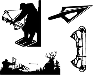 Detailed Decals Bow Hunting Decals: Compound Bow, Tree Stand, Arrow Head, Hunting, Vinyl Decals Black