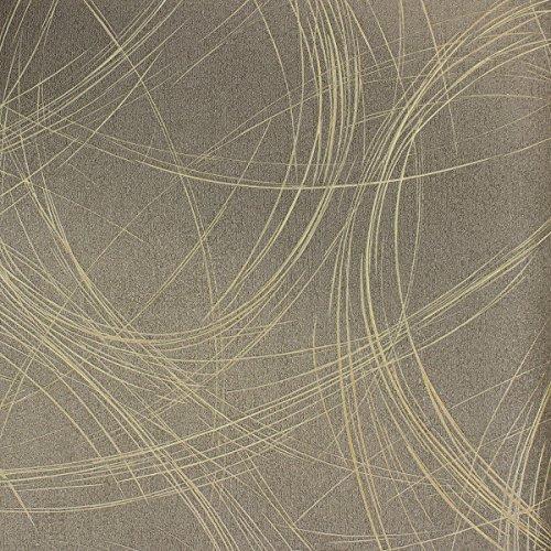 Tapete Braun Grafisch - Ovale, Linien, Geschwungen - Ideal für Wohnzimmer - Colani Visions - Made in Germany - 10,05m X 0,70m - 53328