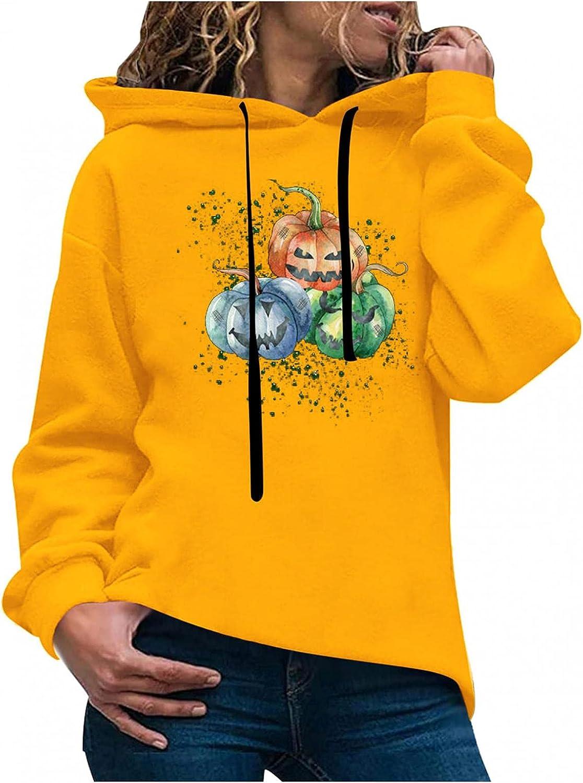 Toeava Women's Fashion Hoodies Sweatshirts Casual Long Sleeve Pumpkin Face Graphic Sweatshirt Pullover Tunic Tops