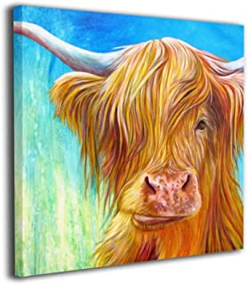 Okoart Canvas Wall Art Prints Highland Cow with Turquoise Green and Blue Photo Paintings Modern Decorative Artwork for Living Room Wall Decor and Home Decor Framed Ready to Hang