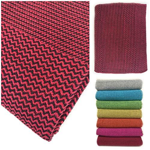 Manta de algodón tejido fino – Manta texturizada sobre sofá, funda de sofá – colcha colorida – tamaño grande 150 x 210 cm (rojo)