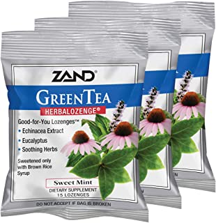 Zand HerbaLozenge, Green Tea Sweet Mint, 15 Count (Pack of 3)