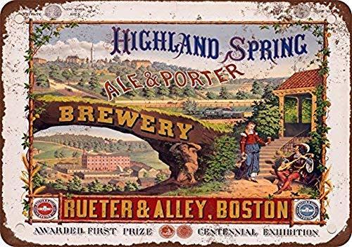 Odeletqweenry Tin Sign, Highland Lente Brouwerij Ale en Porter Bier Vintage Look Reproductie Metalen Tin Teken 12