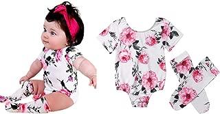 0-2T Baby Boy Girl Romper Floral Long Sleeve Romper Bodysuit Jumpsuit Red Flower Romper with Leg Warmer Stockings