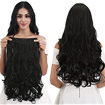 """REECHO 20"""" 1-Pack 3/4 Full Head Curly Wave Clips in on Synthetic Hair Extensions Hairpieces for Women 5 Clips 4.6 Oz per Piece - Natural Black"""