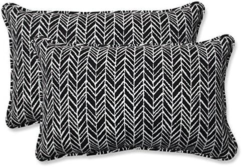 Amazon Com Pillow Perfect 609805 Outdoor Indoor Herringbone Night Lumbar Pillows 11 5 X 18 5 Black 2 Pack Home Kitchen