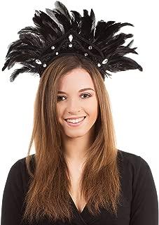 Bristol Novelty BA438 Carnival Headdress Feather for Fancy Dress, Black, One Size