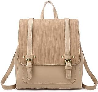 Women's Vintage Backpack Travel School Shoulder Bag Daypack (Color : Apricot)