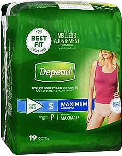 Depend Fit-Flex Underwear for Women Small Maximum Absorbency - 2 Packs of 19 ct