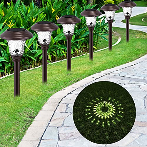Toodour Solar Landscape Path Lights, 6 Packs Solar Landscape Lighting, Solar Outdoor Garden Lights Auto On/Off, Waterproof Solar Path Lights for Yard Patio Walkway Landscape Pathway