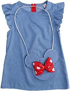 Baby Toddler Girls Ruffles Demin Dress, Solid Color with Cartoon Big Bow Minnie Mouse Shoulder Bag Casual Playwear Outfits