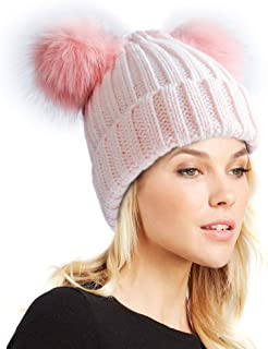 raccoon fur double pom pom hat