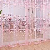 1 m * 2m romántico cortinas de gasa Tulle de puerta Panel cenefas de balcón para decoración del hogar