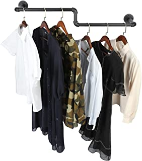 OROPY Industrial Pipe Single Rail Garment Rack, Wall Mounted Clothes Rod for Clothing Storage, Black Color, 39
