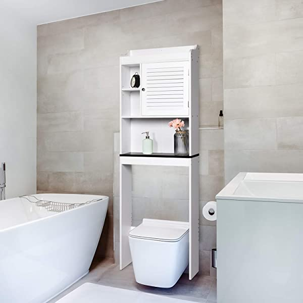 Kintness Bathroom Over The Toilet Space Saver Storage Cabinet Shelf Organizer White