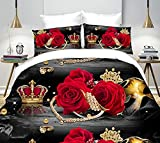 4St. Bettwäsche Set Red Crown 3D Prints Bettwäsche Set für doppelte Größe
