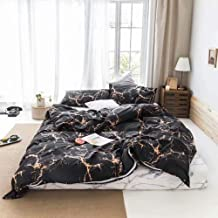"""Wellboo Plaid Duvet Covers Grid Striped Bedding Sets Black and White Women Men Quilt Covers Kids Boys Girls Animals Bedding Covers Sets No Insert Queen/Full-90""""*90"""" Wellboo010-Yellow Marble-Queen"""