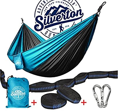 Camping Hammock with Nylon Straps and Carabiners by Silverton Portable & Durable 210T Nylon Rated for 450 lbs. & Can Be Used to Doublenest - Great for Backpacking The Great Outdoors