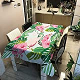 Yqgdss Hermosa Flor Y Flamenco Toallitas Impresas En 3D Impermeables Y A Prueba De Polvo para Limpiar Cubiertas De Mesa De Poliéster Utilizadas para Fiestas En Restaurantes De Cocina 140x180cm