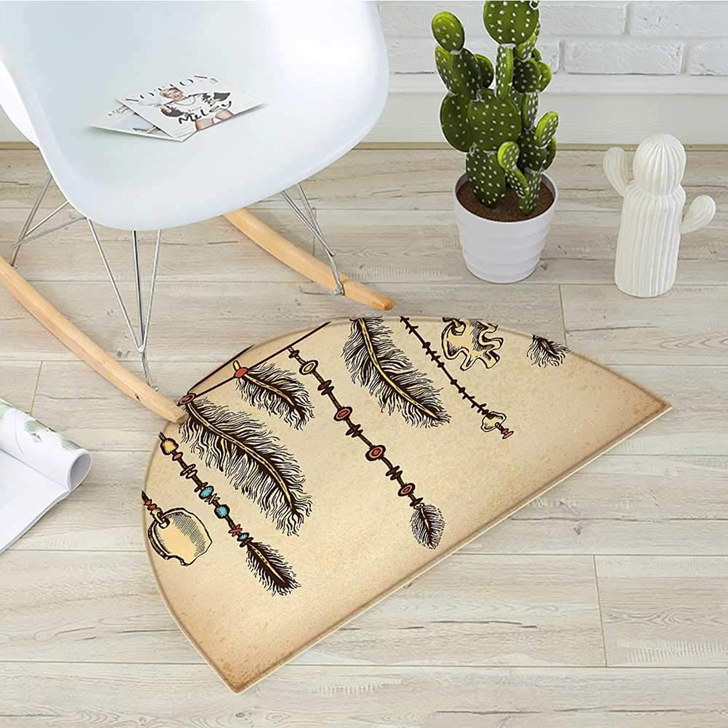 Tribal Half Round Door mats Bohemian Ethnic Hair Accessories with Bird Feathers Beads on String Sketch Digital Print Bathroom Mat H 31.5  xD 47.2  Brown