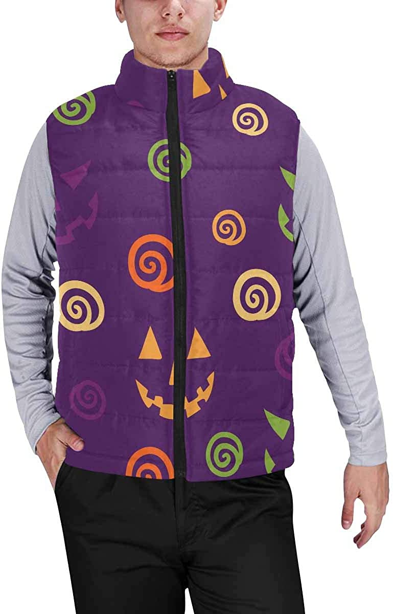 InterestPrint Winter Outwear Casual Padded Vest Coats for Men Halloween with Smile Pumpkins Face L