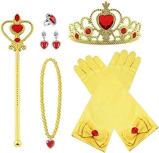 Vicloon 8pcs Princesse Dress Up Accessoires Filles Diadème Varita Magie Collier Boucles d'oreilles Anneau Gants pour Cospl...