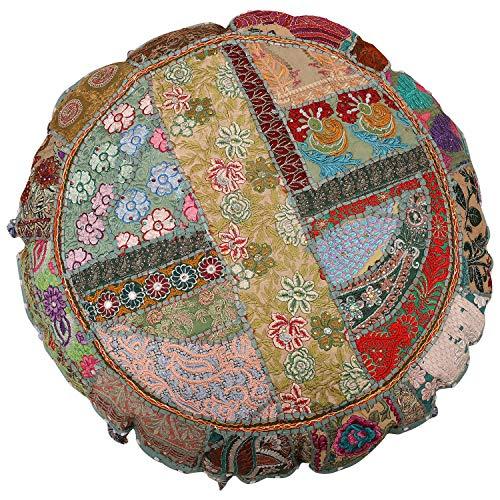 Cojín de algodón indio decorativo, redondo, cómodo, diseño indio, diseño étnico, tamaño 16 x 16, cojín de suelo redondo bohemio, estilo vintage, puf indio, taburete de pie, 100% algodón