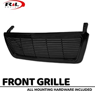R&L Racing Gloss Black Finished Front Grill Horizontal Billet Style Hood Bumper ABS 2004-2008 for Ford F150 Pickup Truck