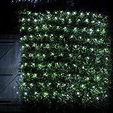 Lights4fun - Red de Luces 2mx2m con 140 LED Blanco en Cable Verde Para Interiores y Exteriores