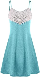 Lelili Women Floral Lace Dress for Party Sexy Crochet Lace Backless Spaghetti Straps Puffy Swing Ball Gown A-Line Mini Dress
